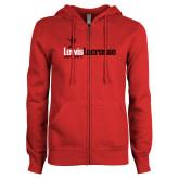 ENZA Ladies Red Fleece Full Zip Hoodie-Lewis Lacrosse