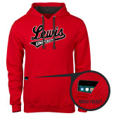 Contemporary Sofspun Red Hoodie-Lewis University Athletics Script