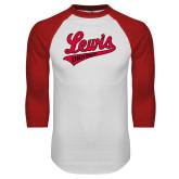 White/Red Raglan Baseball T-Shirt-Lewis University Athletics Script