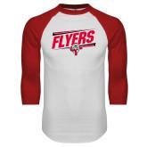 White/Red Raglan Baseball T-Shirt-Lewis Slanted w/ Logo
