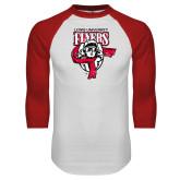 White/Red Raglan Baseball T-Shirt-Primary Logo Distressed