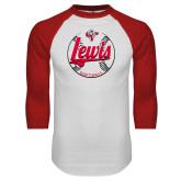 White/Red Raglan Baseball T-Shirt-Lewis Softball Script and Seams