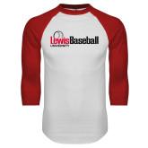 White/Red Raglan Baseball T-Shirt-Lewis Baseball