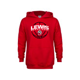 Youth Red Fleece Hoodie-Lewis Basketball Arched w/ Ball