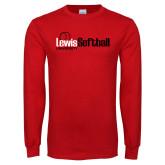 Red Long Sleeve T Shirt-Lewis Softball