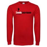 Red Long Sleeve T Shirt-Lewis Lacrosse