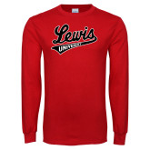 Red Long Sleeve T Shirt-Lewis University Athletics Script