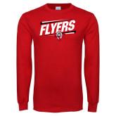 Red Long Sleeve T Shirt-Lewis Slanted w/ Logo