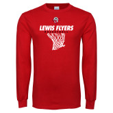 Red Long Sleeve T Shirt-Lewis Flyers Basketball w/ Hanging Net