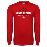 Red Long Sleeve T Shirt-Lewis Flyers Volleyball Stacked