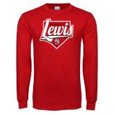 Red Long Sleeve T Shirt-Lewis Baseball Script w/ Plate