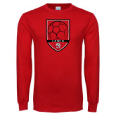 Red Long Sleeve T Shirt-Lewis Soccer Shield