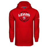 Under Armour Red Performance Sweats Team Hoodie-Lewis Basketball Arched w/ Ball