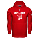 Under Armour Red Performance Sweats Team Hoodie-Lewis Flyers Basketball w/ Hanging Net