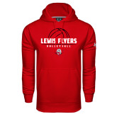 Under Armour Red Performance Sweats Team Hoodie-Lewis Flyers Volleyball Stacked