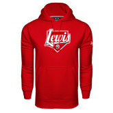 Under Armour Red Performance Sweats Team Hoodie-Lewis Baseball Script w/ Plate