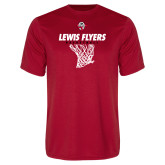 Performance Red Tee-Lewis Flyers Basketball w/ Hanging Net