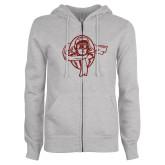 ENZA Ladies Grey Fleece Full Zip Hoodie-Flyer Red Glitter