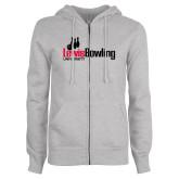 ENZA Ladies Grey Fleece Full Zip Hoodie-Lewis Bowling