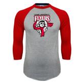 Grey/Red Raglan Baseball T Shirt-Primary Logo