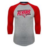 Grey/Red Raglan Baseball T Shirt-Lewis Slanted w/ Logo