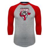 Grey/Red Raglan Baseball T Shirt-Primary Logo Distressed