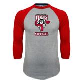 Grey/Red Raglan Baseball T Shirt-Softball