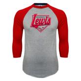 Grey/Red Raglan Baseball T Shirt-Lewis Baseball Script w/ Plate
