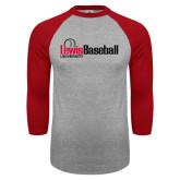 Grey/Red Raglan Baseball T Shirt-Lewis Baseball