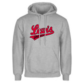 Grey Fleece Hoodie-Lewis University Athletics Script