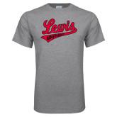 Grey T Shirt-Lewis University Athletics Script
