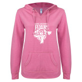 ENZA Ladies Hot Pink V Notch Raw Edge Fleece Hoodie-Primary Logo