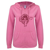 ENZA Ladies Hot Pink V Notch Raw Edge Fleece Hoodie-Flyer Hot Pink Glitter