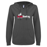 ENZA Ladies Dark Heather V Notch Raw Edge Fleece Hoodie-Lewis Bowling