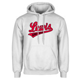 White Fleece Hoodie-Lewis University Athletics Script