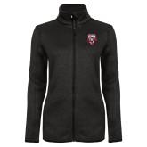 Black Heather Ladies Fleece Jacket-Primary Logo