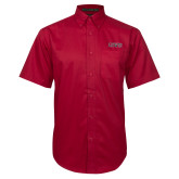 Red Twill Button Down Short Sleeve-Lewis