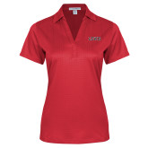 Ladies Red Performance Fine Jacquard Polo-Lewis