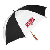 62 Inch Black/White Umbrella-Lewis Slanted w/ Logo