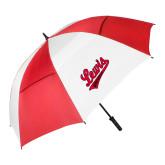 62 Inch Red/White Vented Umbrella-Lewis University Athletics Script