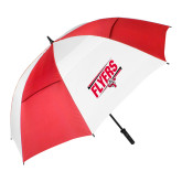 62 Inch Red/White Vented Umbrella-Lewis Slanted w/ Logo