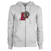 ENZA Ladies White Fleece Full Zip Hoodie-Mascot with L