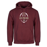 Maroon Fleece Hoodie-Football Outline