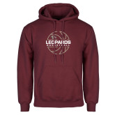 Maroon Fleece Hoodie-Basketball Outline