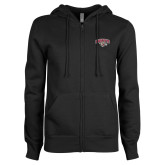 ENZA Ladies Black Fleece Full Zip Hoodie-Secondary Mark