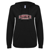 ENZA Ladies Black V Notch Raw Edge Fleece Hoodie-Lacrosse