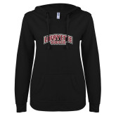 ENZA Ladies Black V Notch Raw Edge Fleece Hoodie-Soccer