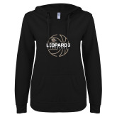 ENZA Ladies Black V Notch Raw Edge Fleece Hoodie-Basketball Outline