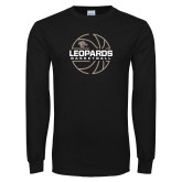 Black Long Sleeve T Shirt-Basketball Outline