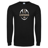 Black Long Sleeve T Shirt-Football Outline